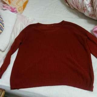 轉賣chan正韓紅色拼接針織上衣