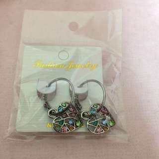 彩色水鑽心型耳環