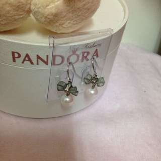 蝴蝶結粉色珍珠耳環