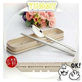 ®韓 304不鏽鋼 環保餐具 麥粒素盒裝 安全無毒