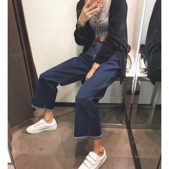 寬鬆直筒個性毛邊深藍色闊腿寬褲牛仔褲
