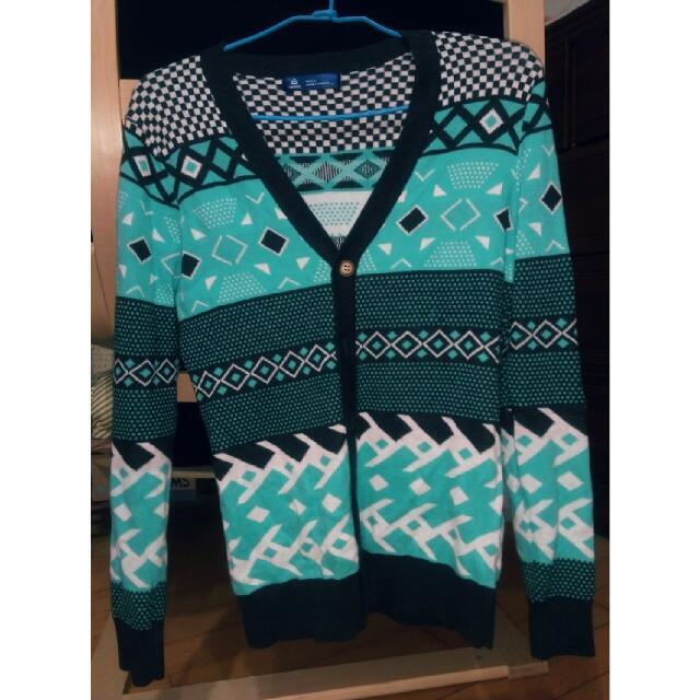 薄荷綠民族針織衫