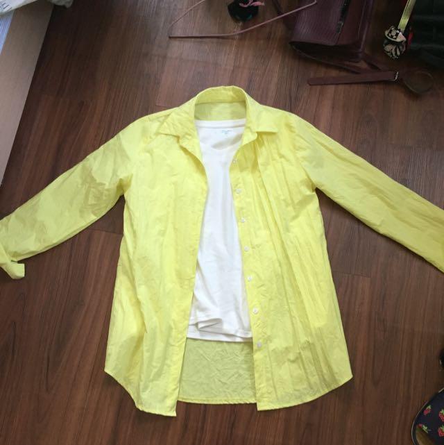 螢光黃長版襯衫