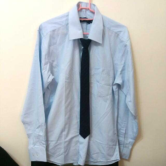 全新✨天藍色男襯衫##不附領帶