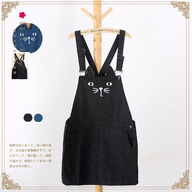 【全新】日系森女貓咪連身牛仔裙