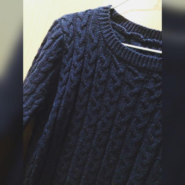 深藍長毛衣