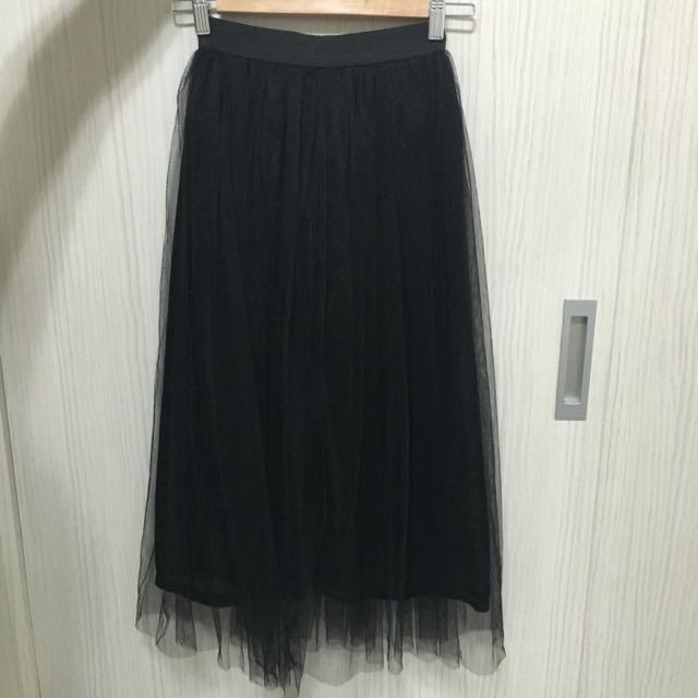 黑色長紗裙