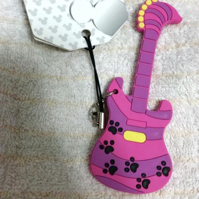 迪士尼 妙妙猫 吉他 造型手機吊飾