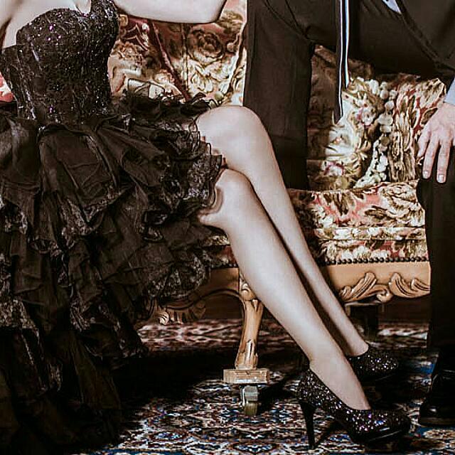 結婚拍照 黑色閃亮 亮片 高跟鞋