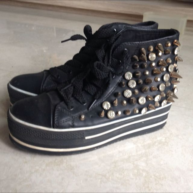 卯釘厚底鞋 厚底帆布鞋 厚底中筒帆布鞋 厚底鞋 內增高