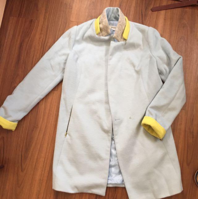 Baby藍 立領拼接外套