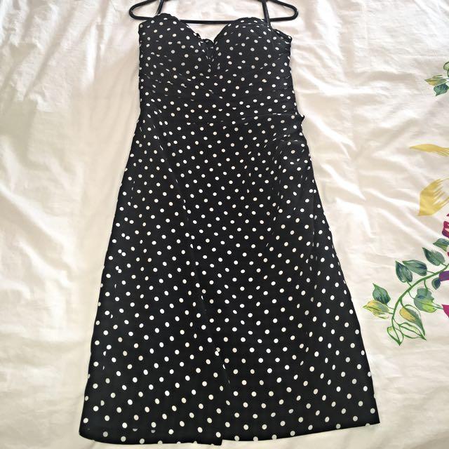 Black Polka Dot Dress (strapless) - Forever New