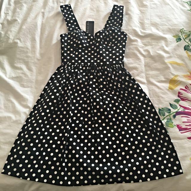 Black Polka Dress (brand new) - Forever New