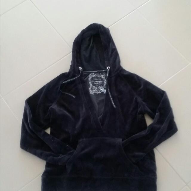 Black Velour Hoodie   Size 14