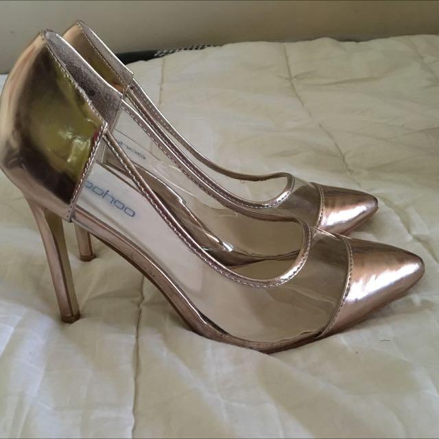 Boohoo Rose Gold/Perspex Heels 9