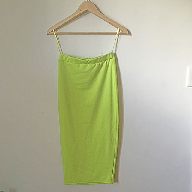 Lime Yellow Midi Skirt Size S