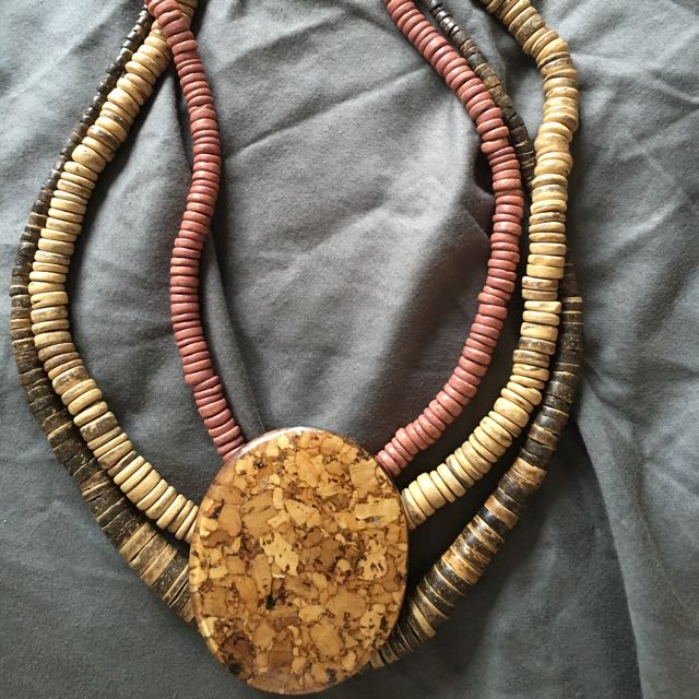 Mayan Inspired Wood Bead Necklace