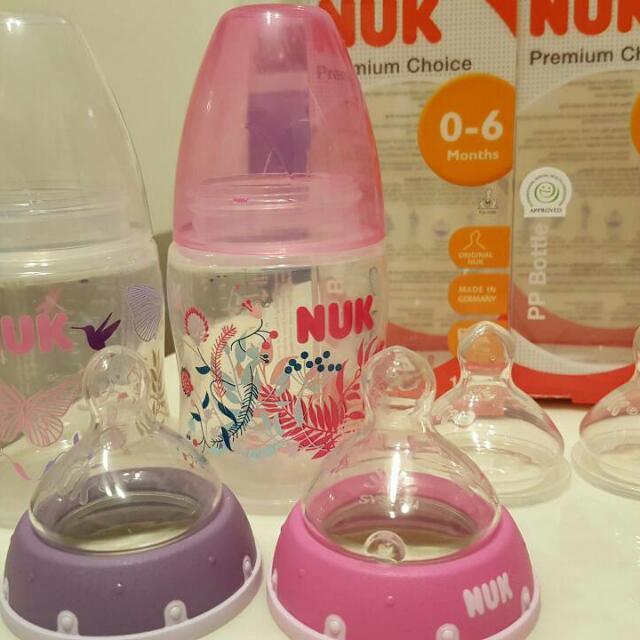 NUK 150ml奶瓶2個 M號奶嘴2個 L號奶嘴2個 400元含運