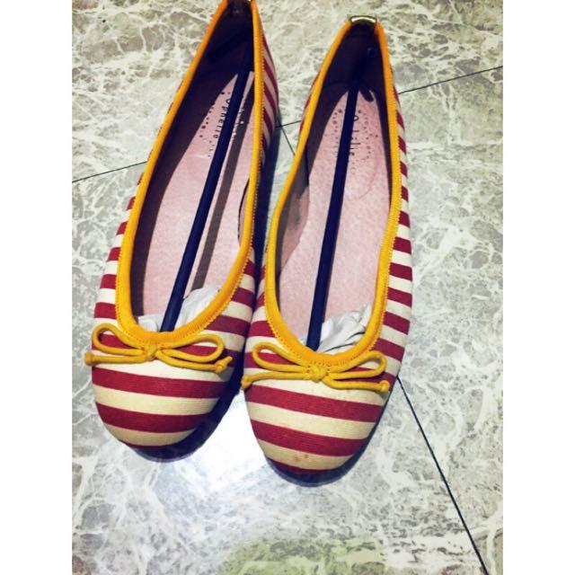 Paris 紅條紋娃娃鞋(全新)