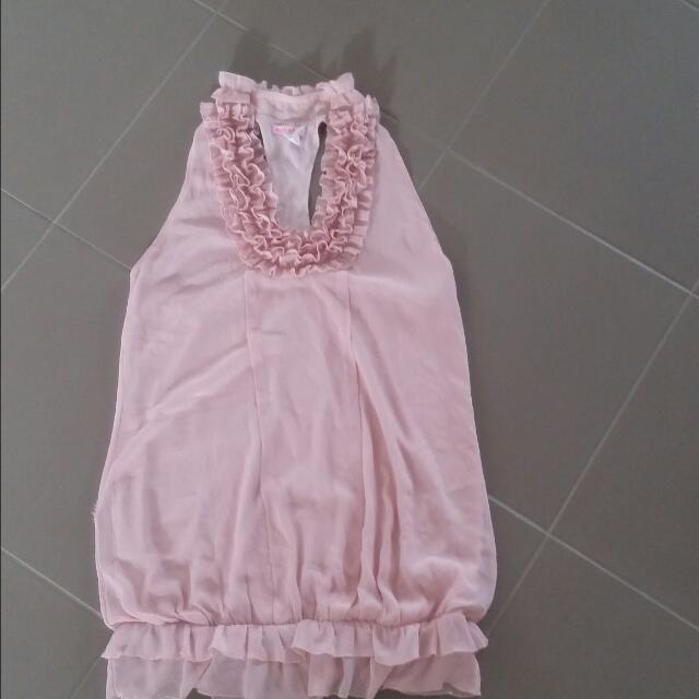Pink Chiffon Halter Neck Dress  Size L
