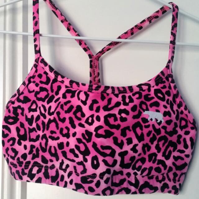 Running Bare Pink Leopard Print Crop