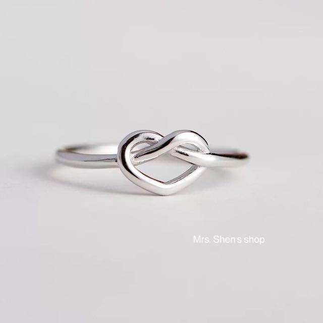 S178 925純銀 簡約心型開口純銀戒指