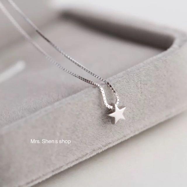 S179 925純銀 迷你小星星鍍白金項鍊