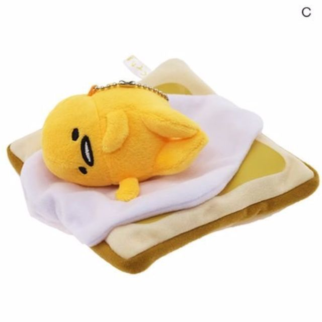 日本sanrio三麗鷗 蛋黃哥 側躺吐司吊飾