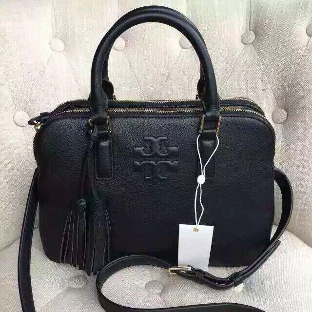 Tory burch thea small rounded 雙流蘇新款真皮肩背包/側背包 黑色