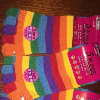 彩色五指襪
