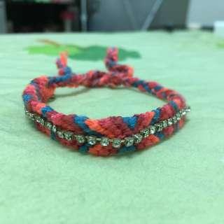 A&F+Hollister 粉紅編織手鍊