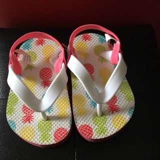 特價出清寶寶鳳梨夾腳拖鞋