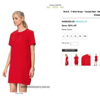 MNG red crepe dress BNWT