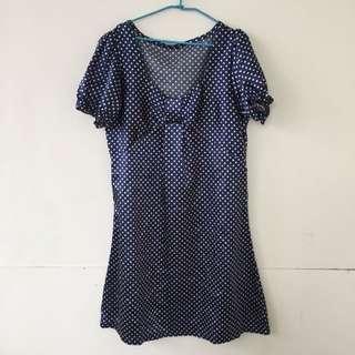 日系Lena款緞面藍點洋裝