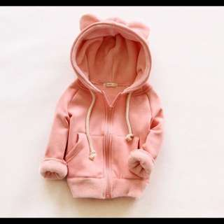 粉色可愛造型小熊耳朵連帽加絨外套