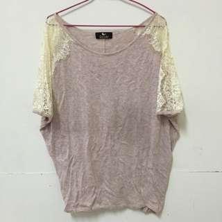 鴿子牌柔軟粉色蕾絲針織上衣