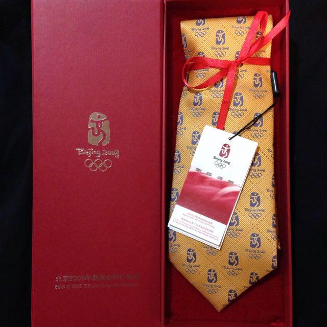 北京2008年 奧運紀念真絲領帶(明黃色)
