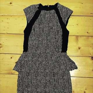 MNG ❤ Black /cream Printed Fitted Peplum Dress  ❤ SZ XS - 6 -NWOT