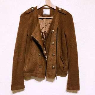正韓😎卡其針織造型雙排扣短外套