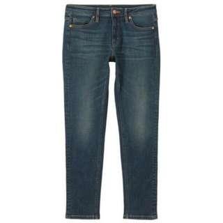 [MUJI 無印良品]女美國棉混丹寧超彈力緊身褲 藍色 64