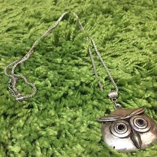 Long Silver Owl Necklace
