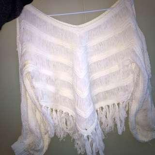 白色百搭流蘇短版毛衣