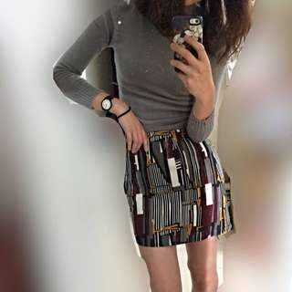 mooncat 合身針織上衣+幾何圖形短裙