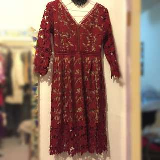 歐美 雕花簍空蕾絲 氣質洋裝