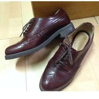 轉賣 BOBOLI 韓國 超美 酒紅紳士雕花牛津鞋 23.5