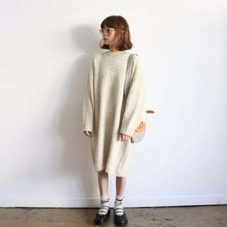 新款 韓國彩點羊毛混紡寬鬆顯瘦中長款毛衣連身裙