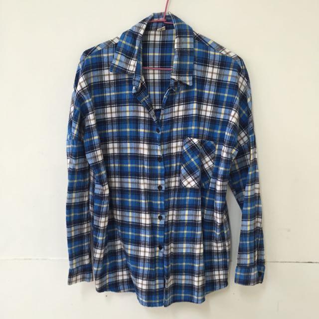 韓組藍格子長版襯衫