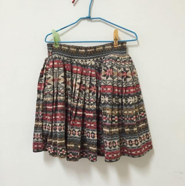 全新民俗風高質感針織短裙