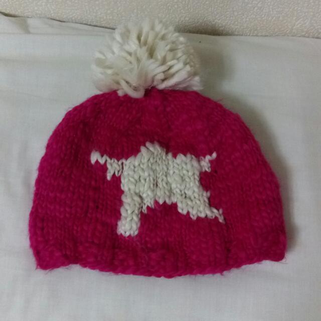 (降)桃紅毛球毛帽
