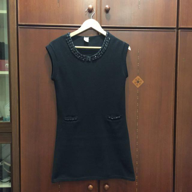 黑色合身針織洋裝